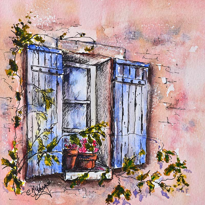blue shutters painting