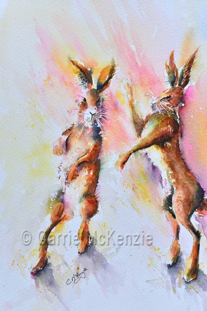 boxing hares watercolour painting