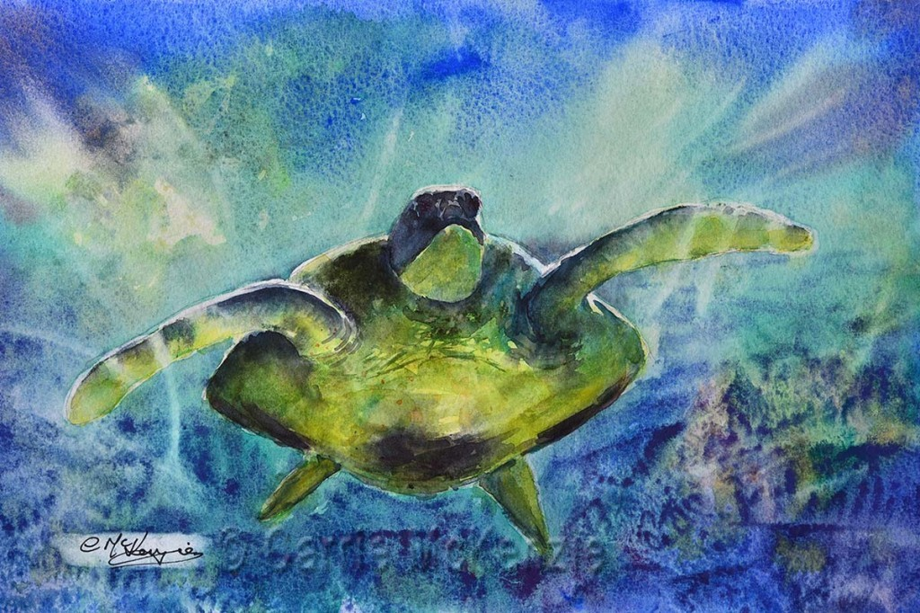 TURTLE PAINTING IN WATERCOLOUR. SEA, UNDERWATER, DIVING. ART WORKSHOP. ART TUITION.
