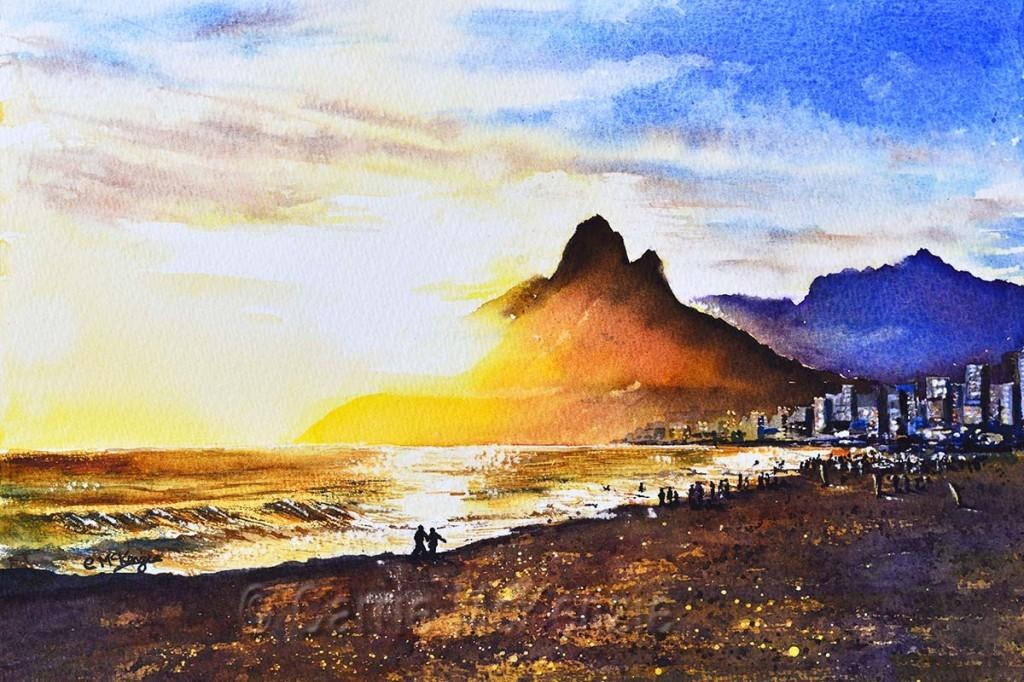 sunset painting, night, evening, art, mountain, beach,