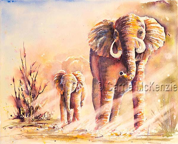 elephants watercolour painting, africa, art