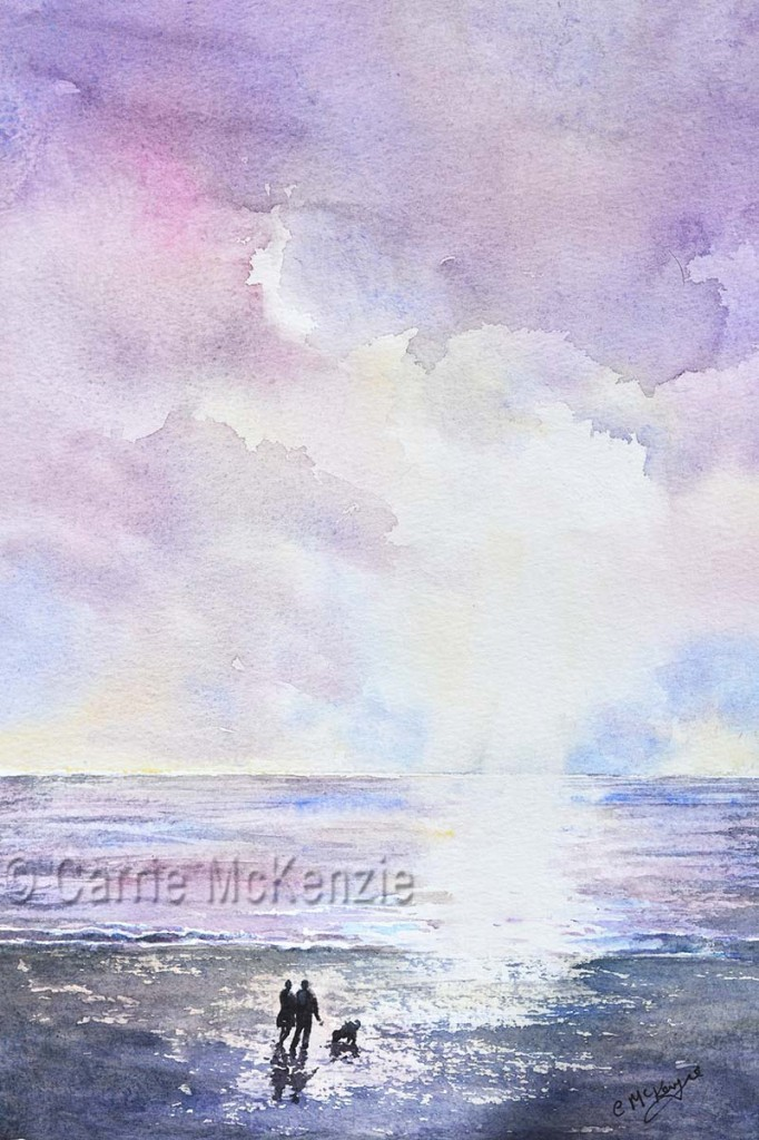 lavender skies sunset, painting, art watercolour, couple on beach with dog