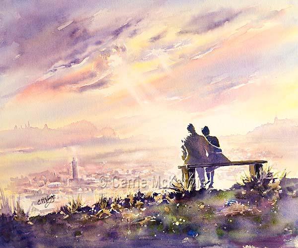 sunset couple painting, watercolour, art, romance, love