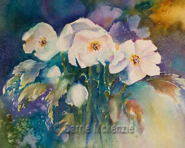 Hellebores painting flowers watercolour