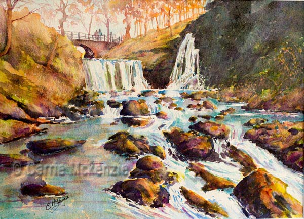lumb hole falls, waterfall painting