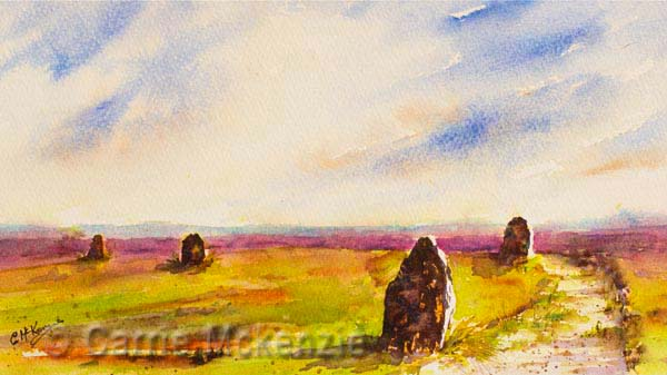 twelve apostles ilkley painting, art, watercolour, ilkley moor
