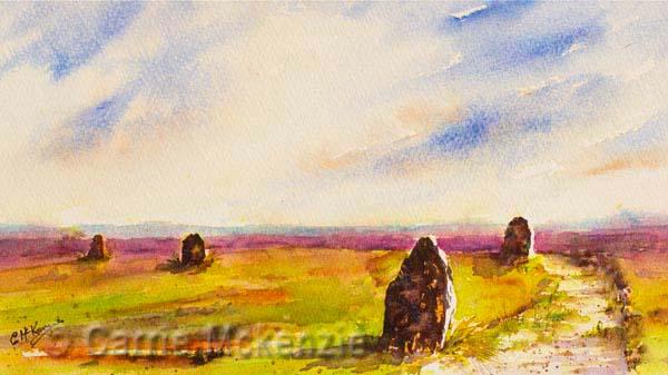 twelve apostles ilkley painting, art, watercolour, ilkley moor