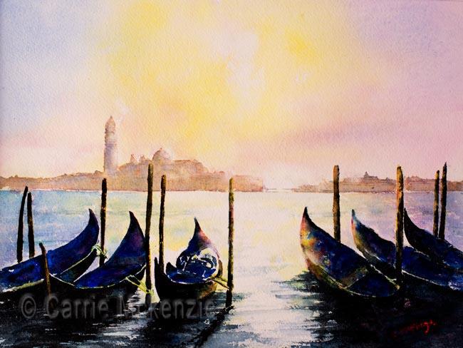 Venice painting of Gondolas. Art tuition. Art workshop. Watercolour.