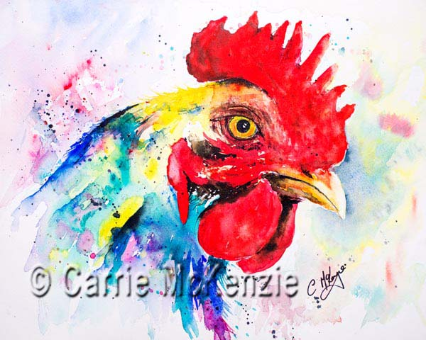 cockerel painting watercolour rooster hen