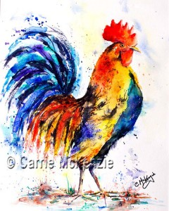 watercolour rooster
