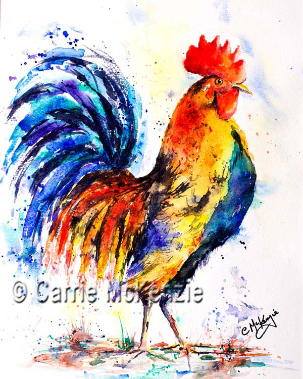 Watercolour rooster painting. Cockerel and hen art.