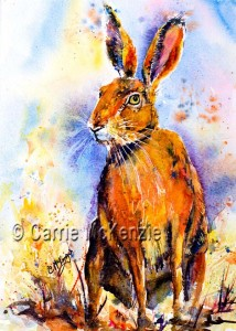 watercolour hare painting. hares rabbits