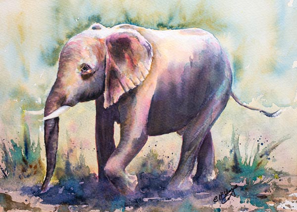 BABY ELEPHANT PAINTING, ART, ELEPHANTS, WATERCOLOUR, WILDLIFE