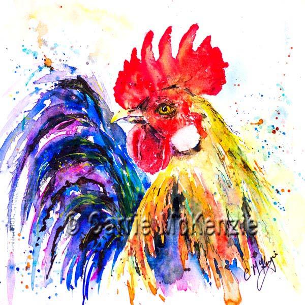 rooster watercolour painting, cockerel painting, hens, birds, art, wildlife