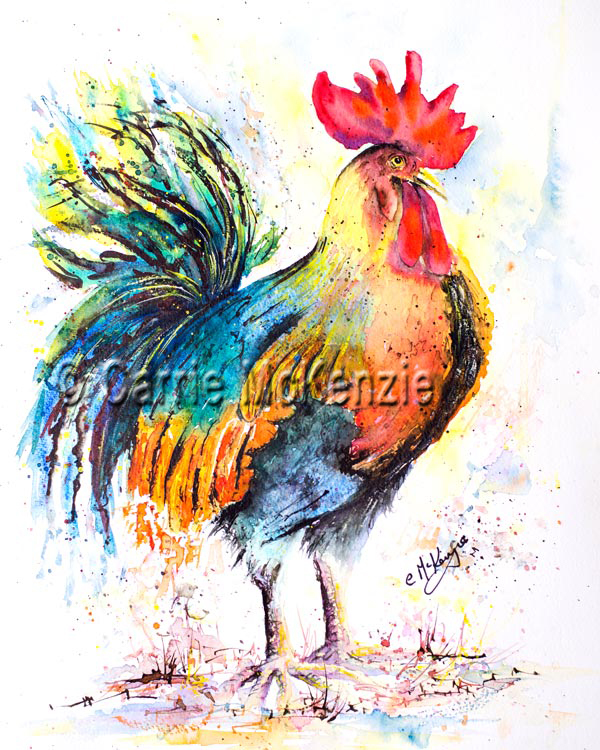 rooster painting watercolour cockerel hen