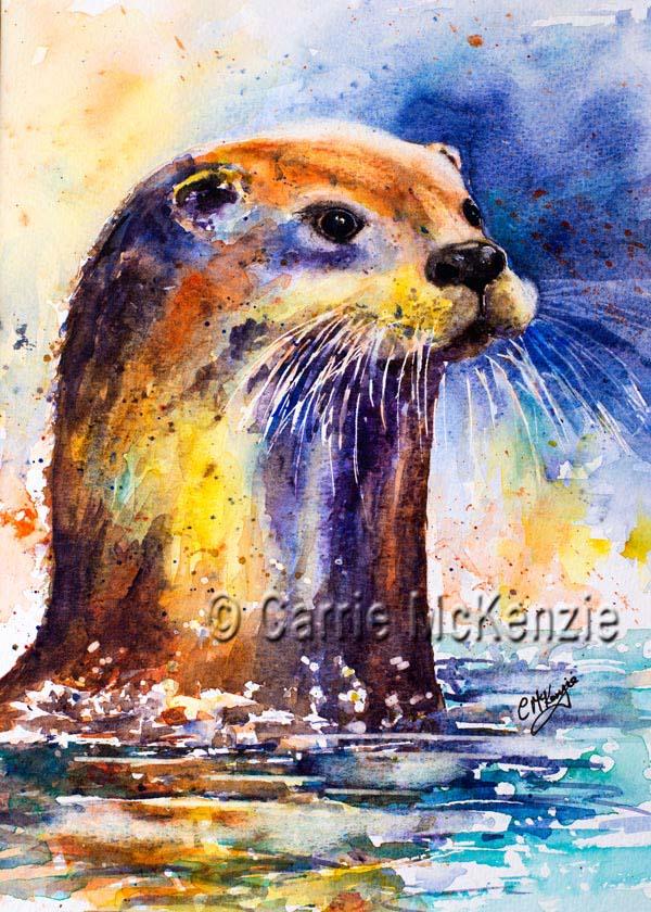 otter painting, watercolour, art, wildlife