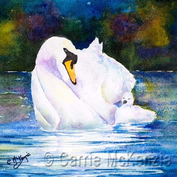 SWAN PAINTING, MOTHER SWAN, CYGNET, BABY SWAN, ART, WATERCOLOUR