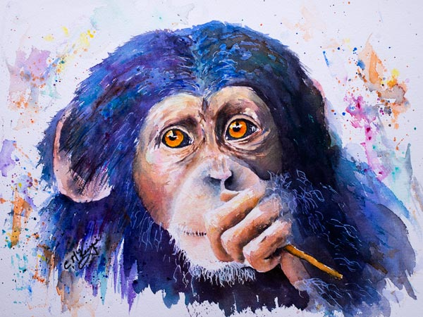 chimpanzee painting watercolour