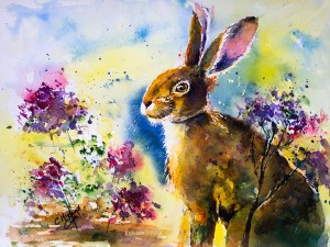 Watercolour Rabbit Hare painting