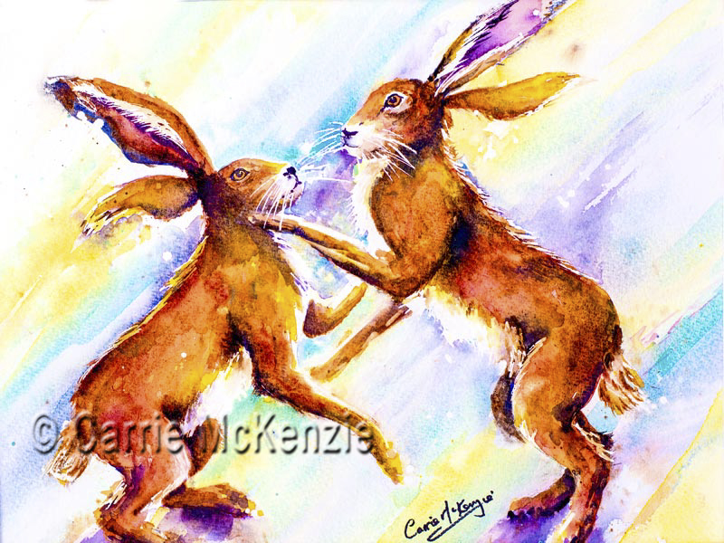 Boxing Hares painting watercolour