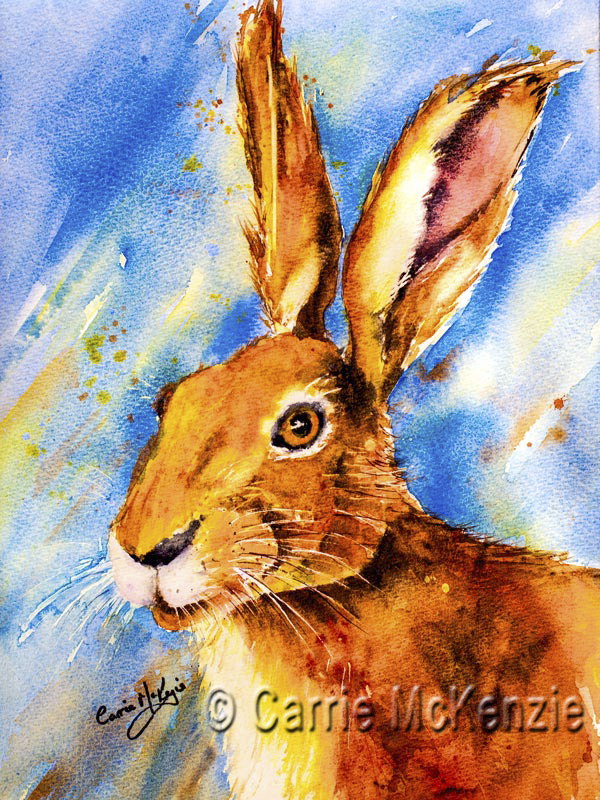 Hare painting watercolour