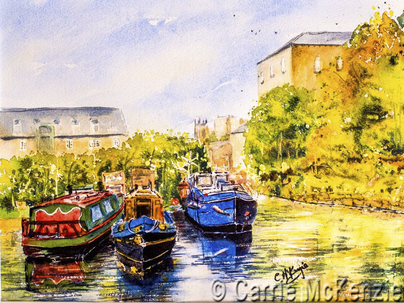 canal painting yorkshire watercolour