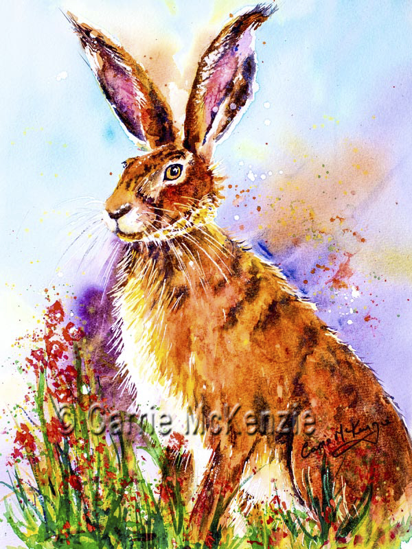 Watercolour hare painting, HARES, RABBITS, art