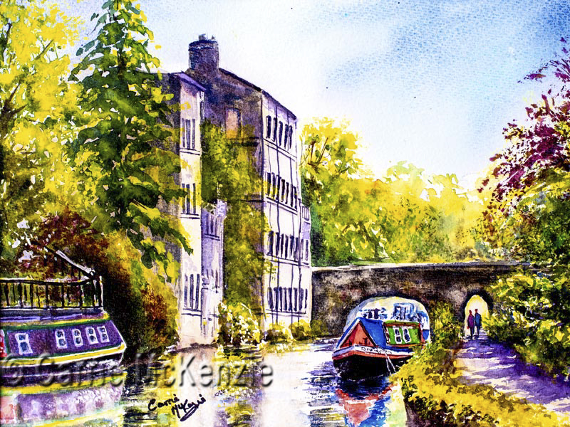 Hebden Bridge Canal painting, canal, canal boats, art, watercolour