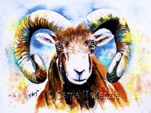 watercolour ram painting