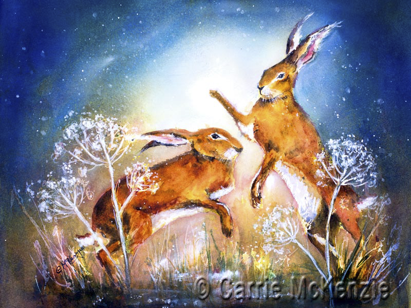 Boxing Hares moonlight painting. Hares and rabbits.