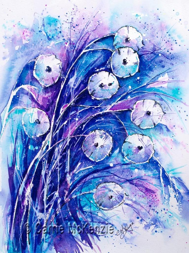 Honesty Flower Painting. Honest Winter Blue. Art.