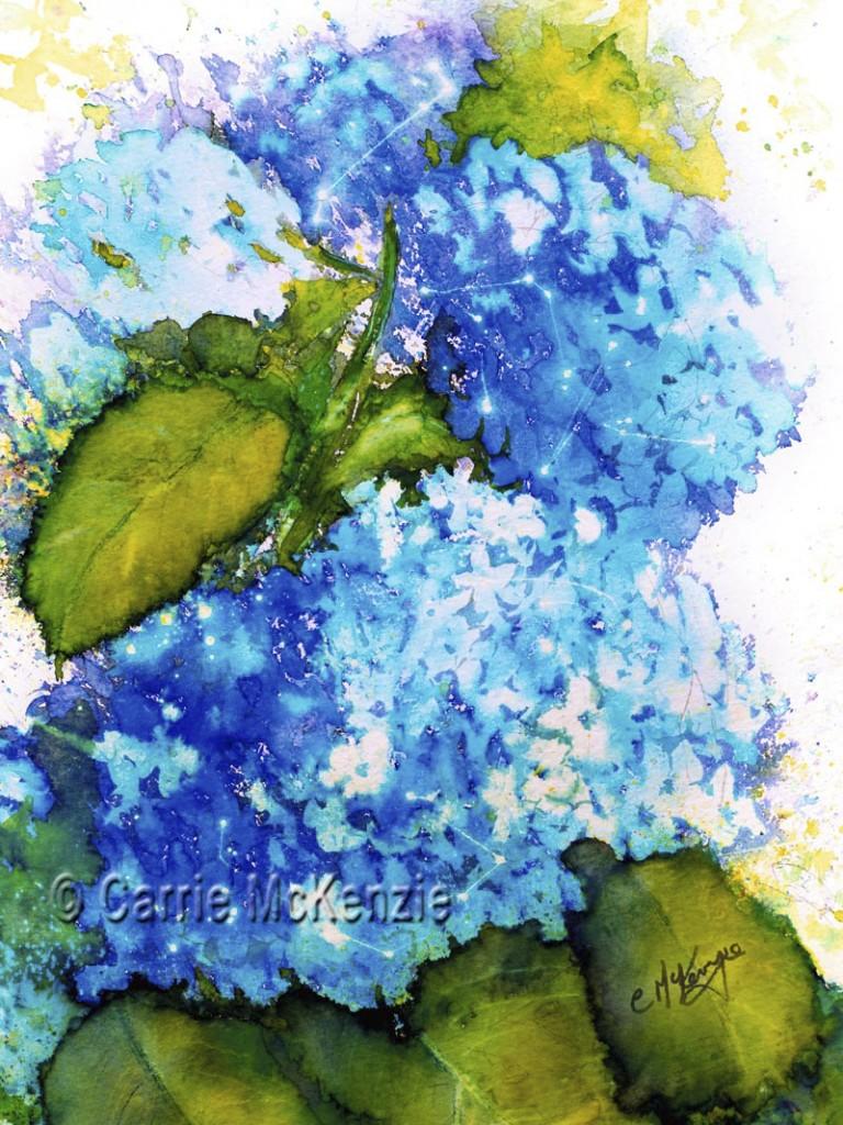 BLUE HYDRANGEA FLOWER PAINTING