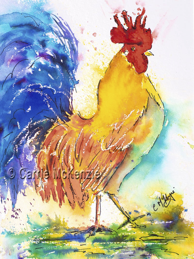 cockerel, hen, rooster, cockerel painting, cockerel art, brusho, brusho painting, nature, wildlife
