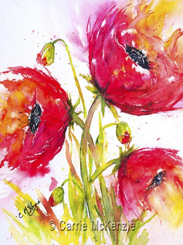Poppies painting, art, flower painting, poppy,