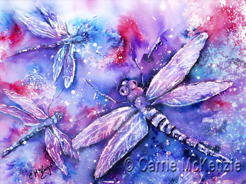 dragonfly, dragonflies, nature, brusho, art, dragonfly painting, dragonflies painting, brusho painting