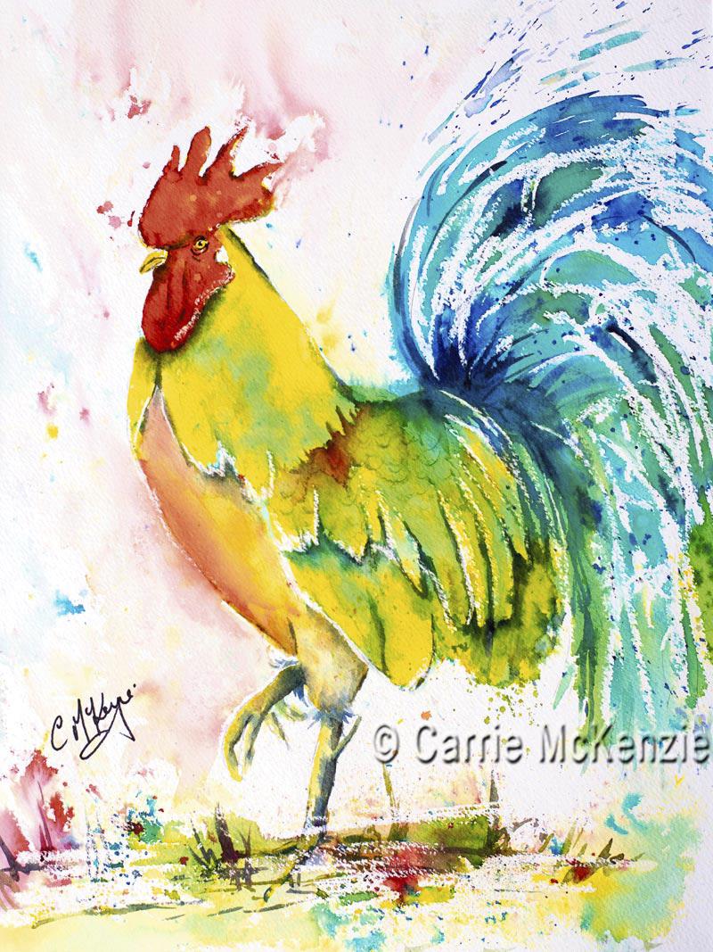 cockerel, hen, rooster, cockerel painting, rooster painting, hen painting, brusho, brusho painting, nature, wildlife,
