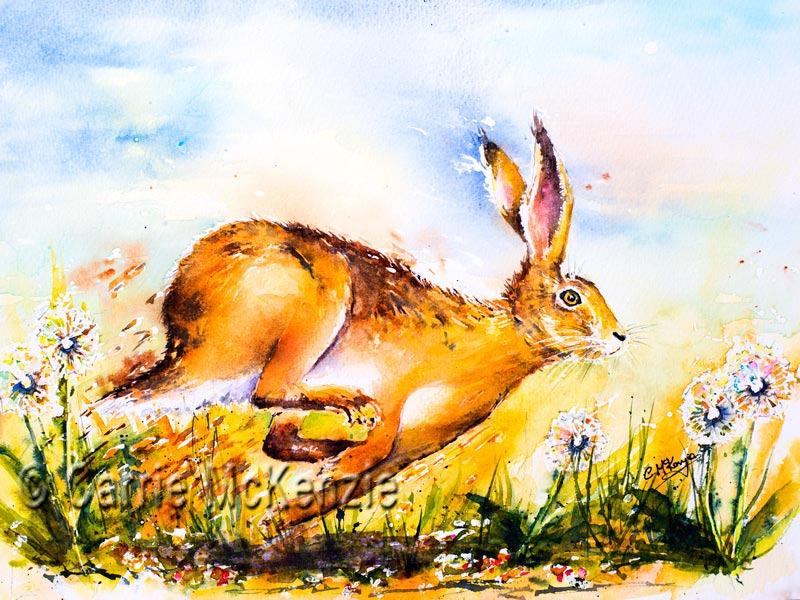 Hare running painting. Art. Hares Rabbits. Hurry Scurry Hare
