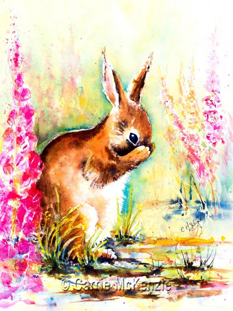 Rabbit painting, hares rabbits, art