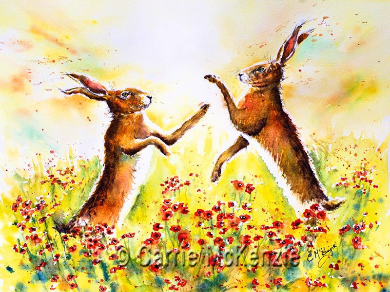 Boxing Hares painting, art, hares, rabbits, wildlife, nature, poppies