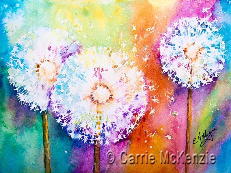 dandelion clocks flowers painting