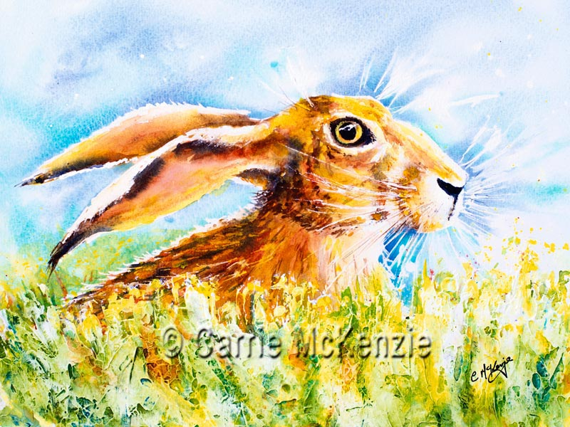 Hare Painting watercolour and mixed media. Art. Rabbits and Hares.