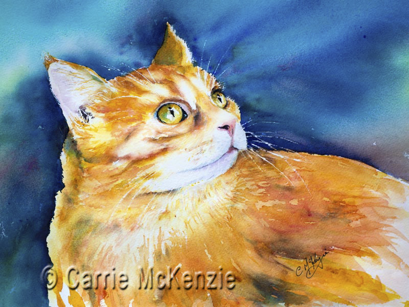 CAT PAINTING, GINGER CAT PAINTING, ANIMAL, ART, WATERCOLOUR, KITTEN