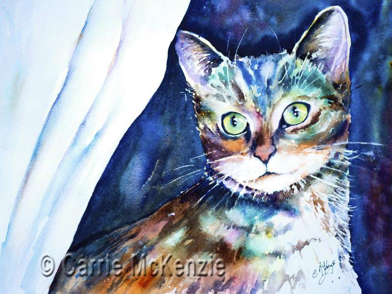 CAT PAINTING, TABBY CAT PAINTING, ANIMAL, ART, WATERCOLOUR, KITTEN, tabby cat, PET, PET PAINTING, PET ART