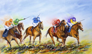 sports paintings, horse racing painting, horseracing painting, horse racing, horse racing art,