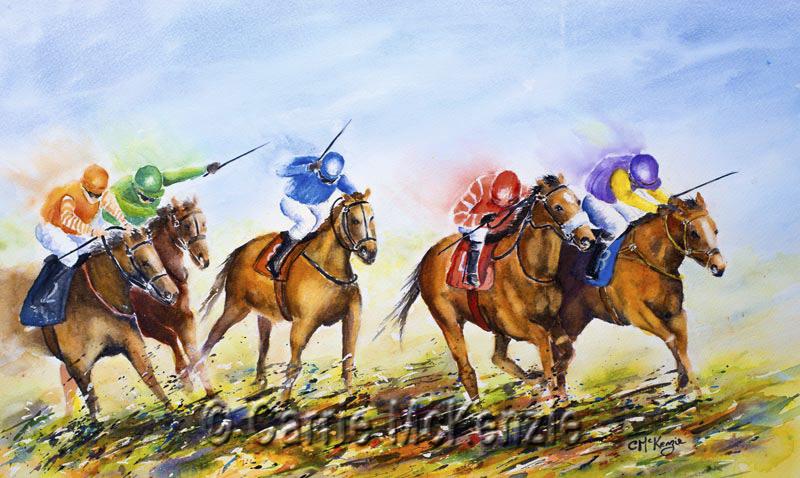 horse, horse racing, horseracing, horseracing painting, horseracing art, sport, racing