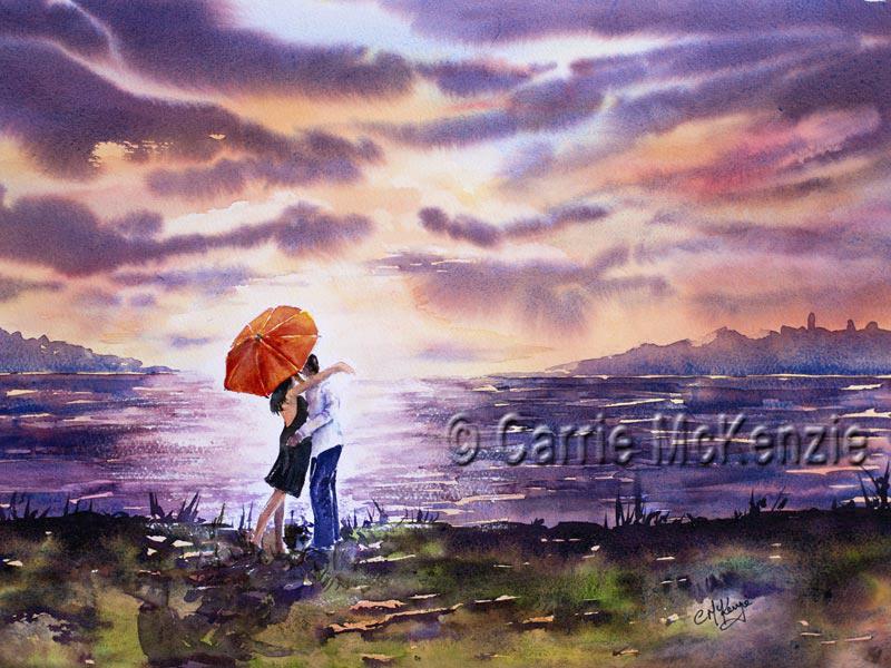 romance, romantic, love, couple, sunseet, sea, skies, love painting, couple painting, romantic couples painting, romantic painting