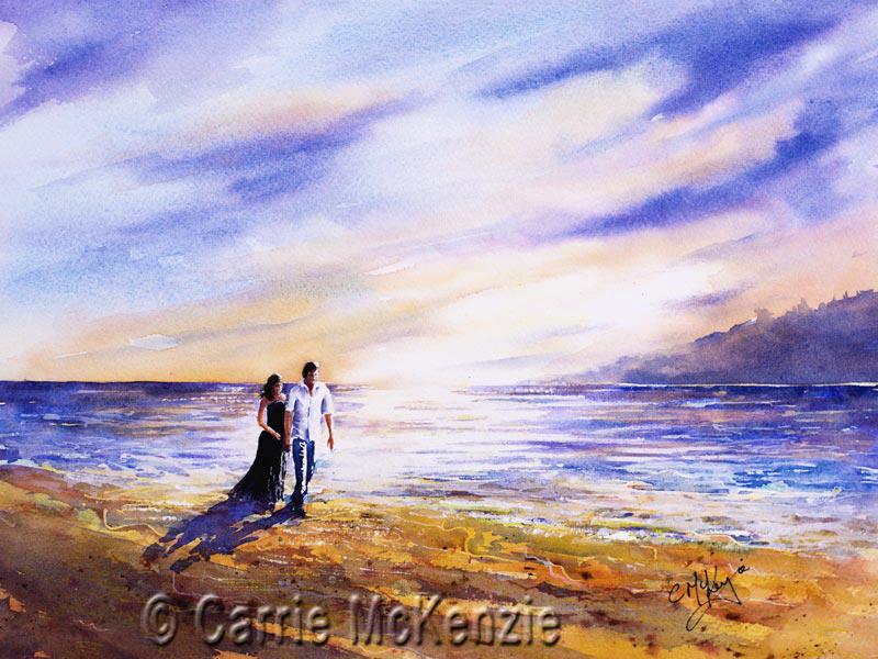 romantic couple painting, couple, love, romance, romantic, sea, skies, sunset, sunrise, love painting, couple painting, romantic painting, love painting