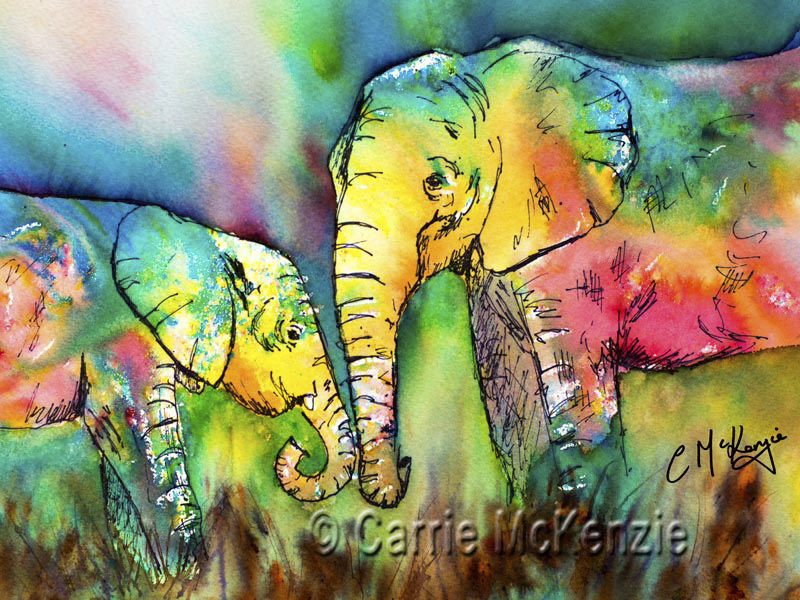 elephant, elephant painting, baby elephant painting, wildlife, wildlife painting, elephant art, wildlife art, elephant watercolour, baby elephant watercolour