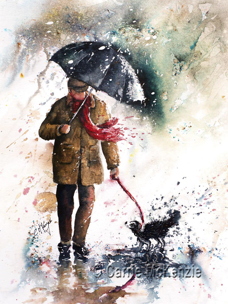 rainy day painting, rain painting, dog painting, umbrella painting, umbrella, rain, dog, rain art, umbrella art, old man painting, old man,