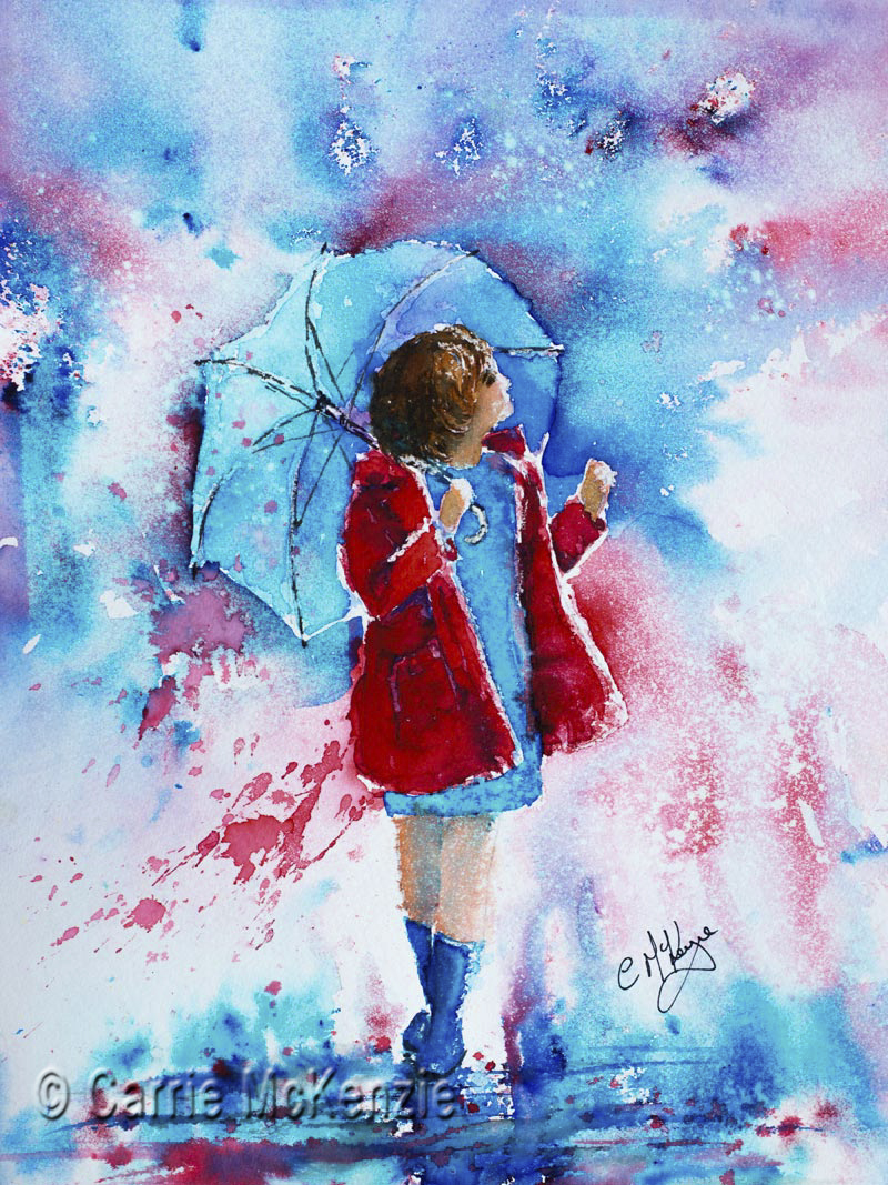 rain painting, umbrella painting, rain, umbrella, rainbow, rainbow painting, girl, girl painting, rain art, umbrella art
